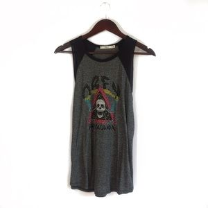 Obey Gray Tank Top With Skull Design Size Medium